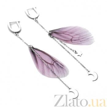 Серебряные серьги-подвески Феличита с розовым текстилем 000080209