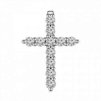 Хрестик з білого золота з діамантами 0.93 ct 000145343