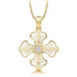 Крестик из желтого золота с бриллиантом и эмалью Тайна: Верность