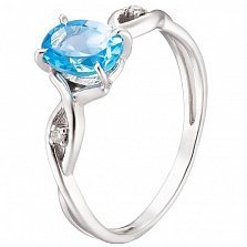 Кольцо из белого золота Грэйс с голубым топазом и бриллиантами