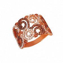 Золотое кольцо Фриволите с цирконием