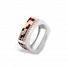 Серебряное кольцо Эльнара с золотой накладкой, фианитами и цветной эмалью