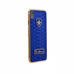 Apple IPhone X Noblesse BLUE PYTHON в синей коже питона, серебре и золоте