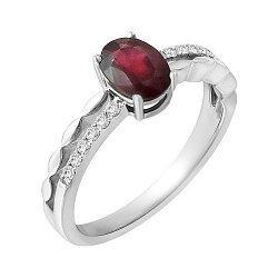 Золотое кольцо в белом цвете с рубином и бриллиантами 000118990