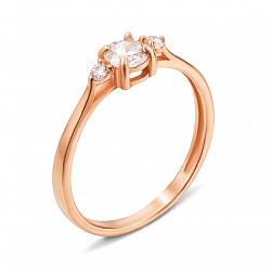 Золотое кольцо Жюли с тремя фианитами