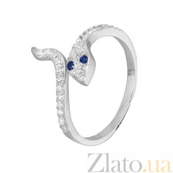 Серебряное кольцо с фианитами Кобра 000028160