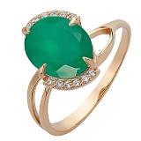 Золотое кольцо Драко с агатом и цирконием