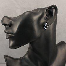 Серебряные серьги Елена с синим ювелирным стеклом и белыми фианитами