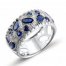 Кольцо из белого золота Амина с бриллиантами и сапфирами