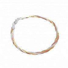 Серебряный браслет Луанда с позолотой, 4 мм