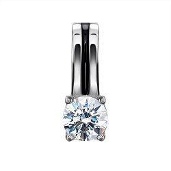 Серебряный кулон Баст с кристаллом Swarovski и черной эмалью