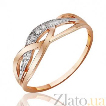 Золотое кольцо Ажурные узоры с фантазийной шинкой и белыми фианитами EDM--КД037