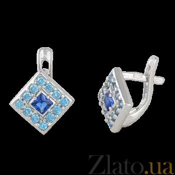 Серьги из серебра Ксантия с синим и голубым цирконием SLX--СК2ФСТ/025
