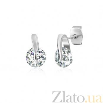 Серебряные сережки с фианитами Алмазный блеск SLX--С2Ф/489