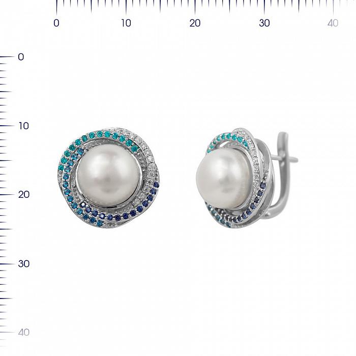 Серебряные серьги Гелена с жемчугом, голубыми, синими и белыми фианитами 000081891