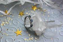 Золотое кольцо Милена в белом цвете с сапфирами и бриллиантами