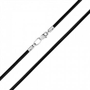 Черный каучуковый шнурок с застежкой из серебра 000118329  3 мм