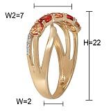 Кольцо Тунис из желтого золота с бриллиантами и сапфирами