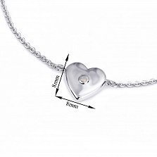 Серебряный браслет Сердце малое объёмное с синтезированным нежно-розовым опалом, 8x8мм