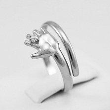 Кольцо из белого золота с фианитом Я с тобой