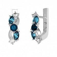 Серебряные серьги Деми с лондон кварцем, голубым кварцем и фианитами