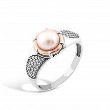 Серебряное кольцо Джулиана с золотой накладкой, жемчугом, фианитами и родием