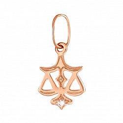 Кулон из красного золота Знак Зодиака Весы с цирконием 000133281