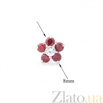 Серебряные серьги-пуссеты Монти с красными и белыми фианитами 000080153