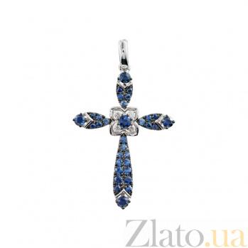 Золотой крест с сапфирами и бриллиантами Синева небес 000026739