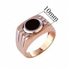 Золотое кольцо-печатка с эмалью и фианитами Фэрн
