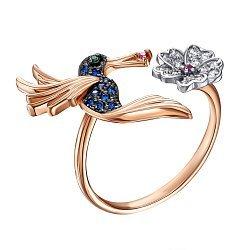 Золотое разомкнутое кольцо с разноцветными фианитами 000138508