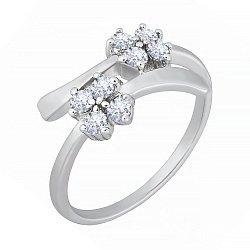 Серебряное кольцо с белыми фианитами Пора цветения