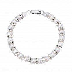 Серебряный браслет с жемчугом и цирконием 000148121