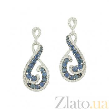 Золотые серьги с сапфирами и бриллиантами Матильда 1С441-0148