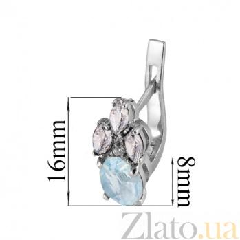 Серебряные серьги с голубым цирконием Ульяна Ульяна с/гол цир