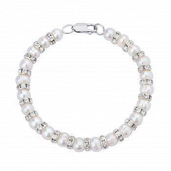 Срібний браслет з перлами і цирконієм 000148121