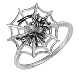 Кольцо Паутинка из белого золота с бриллиантами