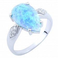 Серебряное кольцо Падма с голубым опалом и фианитами