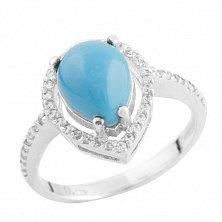 Серебряное кольцо Ноэми с бирюзой и фианитами