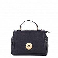 Кожаная деловая сумка Genuine Leather 7807 темно-синего цвета с клапаном на металлической застежке