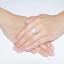 Серебряное кольцо с белой жемчужиной и фианитами Розочка
