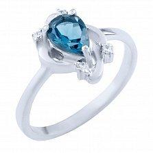 Серебряное кольцо Агнешка с топазом лондон и фианитами