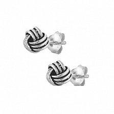Серебряные сережки-гвоздики Секрет