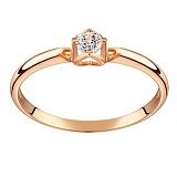 Золотое помолвочное кольцо В окружении любви в красном цвете с бриллиантом 3,3мм