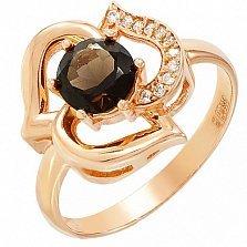 Золотое кольцо Орхидея с раухтопазом и фианитами