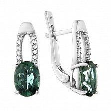 Серебряные серьги Алиса с зеленым кварцем и фианитами