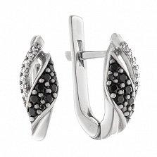 Серебряные серьги Вольное сплетение с фианитами