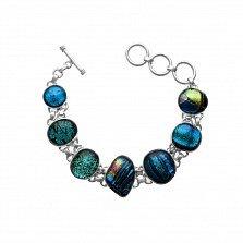 Серебряный браслет Разнообразие с имитацией опала в сине-зеленой гамме и регулируемым размером