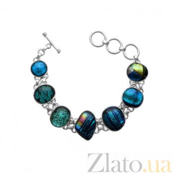Серебряный браслет Разнообразие с имитацией опала в сине-зеленой гамме и регулируемым размером 000069093