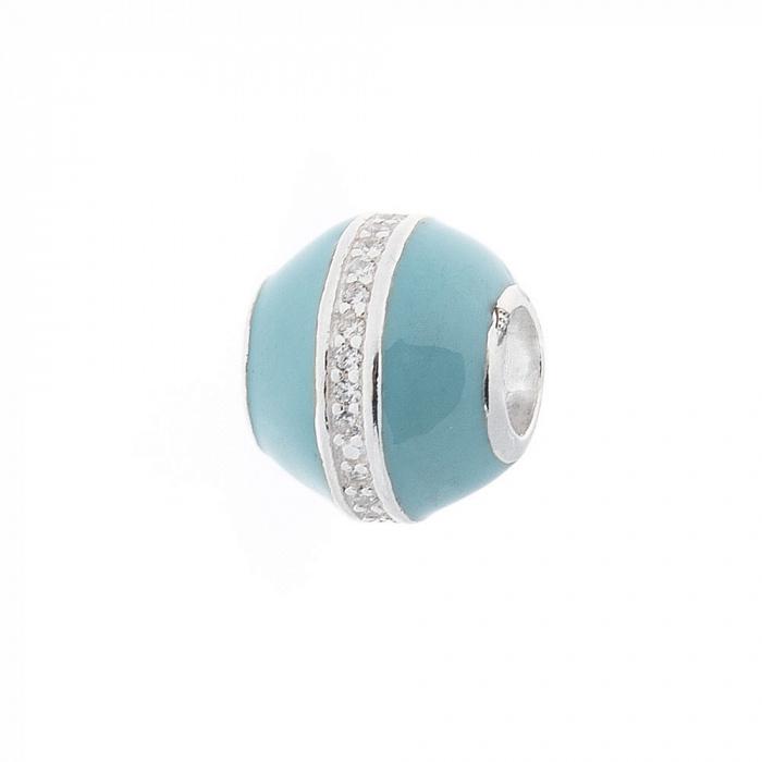 Серебряный шарм Грета с фианитами и голубой эмалью 000069850